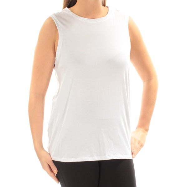 Shop TOMMY HILFIGER Womens White Tie Mesh Back Sleeveless Jewel Neck Active  Wear Top Size  L - Free Shipping On Orders Over  45 - Overstock - 27211728 5abaa114aac2