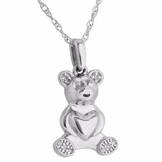 Womens Teddy Bear Heart Pendant Real 0.02CT Solitaire Diamonds 10K White Gold Free Necklace