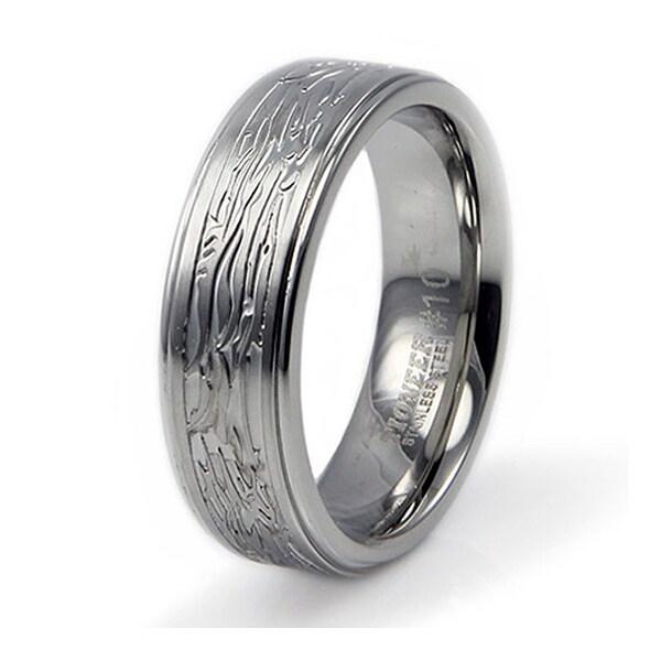 Stainless Steel Ring w/ Tree Bark Design