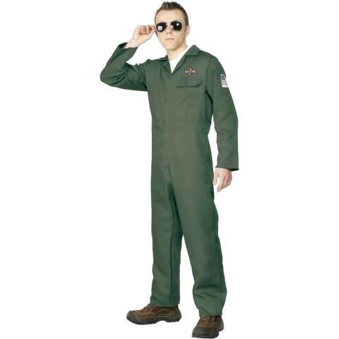Airplane Aviator Khaki Jumpsuit Costume Adult - Tan