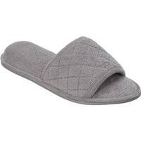 Dearfoams Women's Microfiber Terry Open Toe Slipper Medium Grey