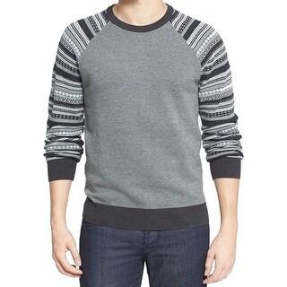 1901 NORDSTROM NEW Gray Mens Large L Fair Isle Raglan Crewneck Sweater