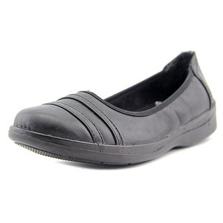 Easy Street Measure Women N/S Round Toe Leather Black Flats