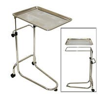 LCL Beauty Extra Large Stainless Steel Double-Post Mayo Instrument Stand and Work Tray
