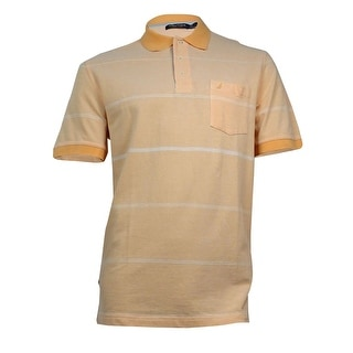 Nautica Men's Striped Collared Cotton Polo L, Orange Sorbet - L