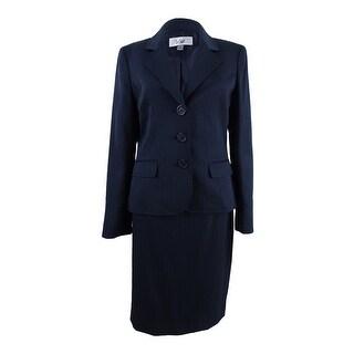 Le Suit Women's Pinstriped Skirt Suit - Navy - 4