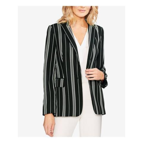 VINCE CAMUTO Womens Black Striped Blazer Wear to Work Jacket Size 2