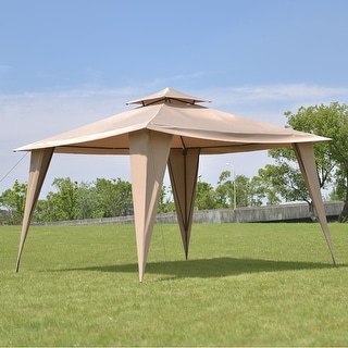 Costway 2-Tire 11'x11' Gazebo Canopy Shelter Awning Tent Steel Frame Patio Garden Brown