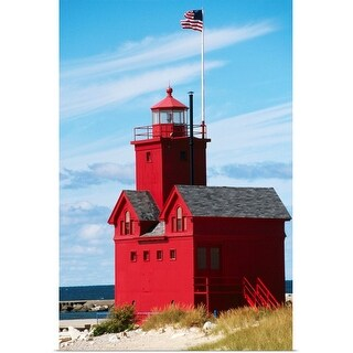 """Red lighthouse"" Poster Print"