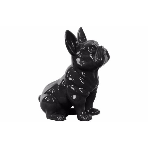 Sitting French Bulldog Figurine with Pricked Ears - Black - Benzara
