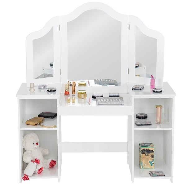 Costway Vanity Table Set Makeup Dressing Kids Girls Study Table Tri Folding Mirror