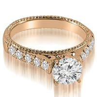 1.00 cttw. 14K Rose Gold Vintage Cathedral Round Cut Diamond Engagement Ring