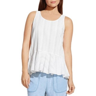 Two by Vince Camuto Womens Peplum Top Linen Striped