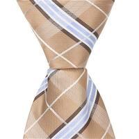 XN26 - 11 in. Zipper Necktie - Brown With Blue & White Plaid,