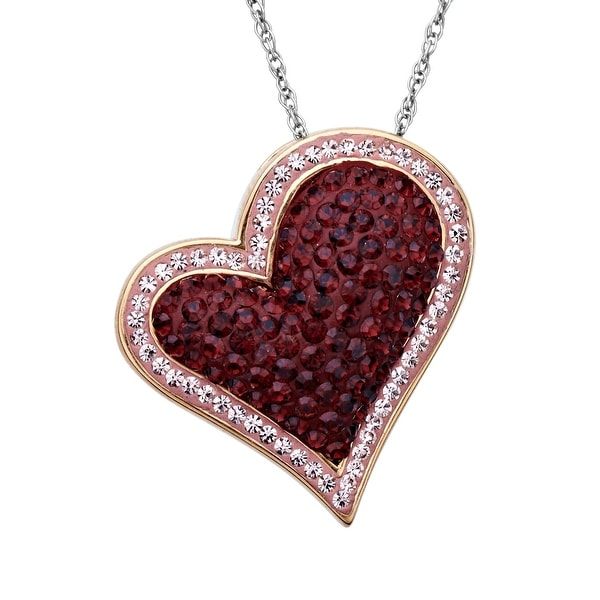Crystaluxe Heart Pendant with Swarovski Crystals in 14K Rose Gold-Plated Sterling Silver - Red