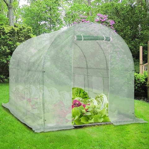 Ainfox Heavy Duty Greenhouse with Dual Zippered Screen Doors & 8 Screen Windows with Reinforced Galvanized-Steel Frame