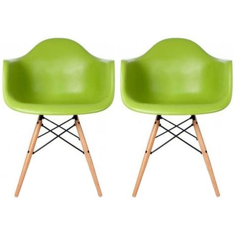 Molded Natural Wood Eiffel Dining Chairs (Set of 2)
