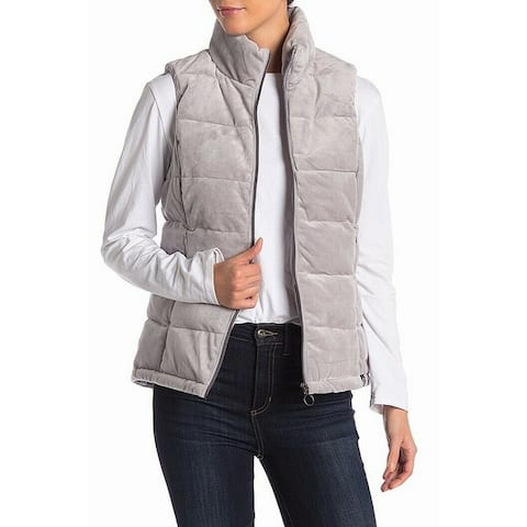 Gerry Gray Womens Size Medium M Full Zip Mock Neck Puffer Vest