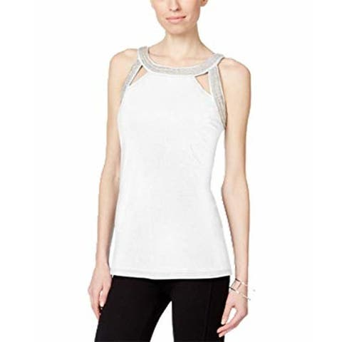 Inc International Concepts Petite Embroidered Cutout Top, White, L - White