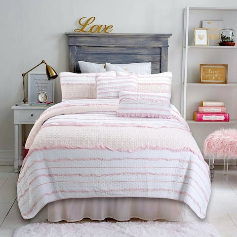 Cozy Line Pink Princess Ruffle Cotton Quilt Set