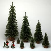 "12"" Mini Pine Tree 152 Tips Wood Base"