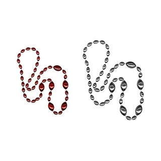 Cleanlapsports Jumbo Football Beads Red/ Silver - 2 Piece