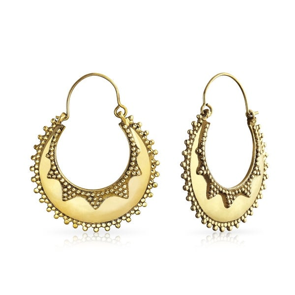 Shop Large Indian Style Beaded Edge Gold Plated Crescent Round Shape Hoop  Earrings - On Sale - Free Shipping On Orders Over  45 - Overstock - 18946570 d776c09fc8b4