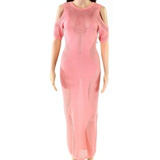 Wow Couture Pink Womens Size Small S Cold-Shoulder Maxi Dress