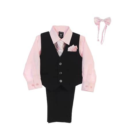 06e606dabd46 Lito Little Boys Pink Shirt Zipper Tie Bow Tie Pinstripe Vest Pant Set 4T