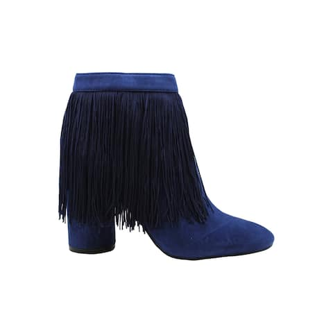 Katy Perry Womens The Fringe Suede Suede Closed Toe Ankle Fashion Boots