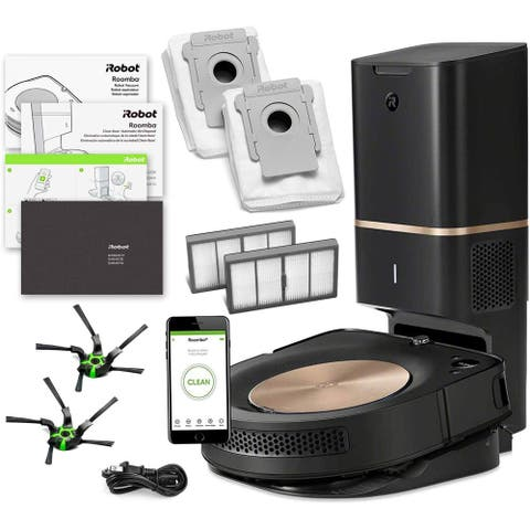 iRobot Roomba s9+ Robotic Vacuum Cleaner w/ Automatic Dirt Disposal + Warranty + Extra Sidebrush Extra Filter Bundle
