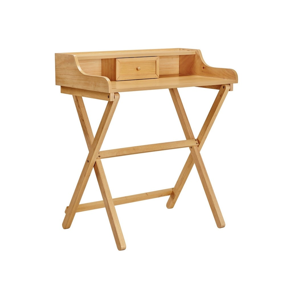 1 Drawer Wooden Desk with Foldable X Shaped Legs, Brown (Brown Painted)