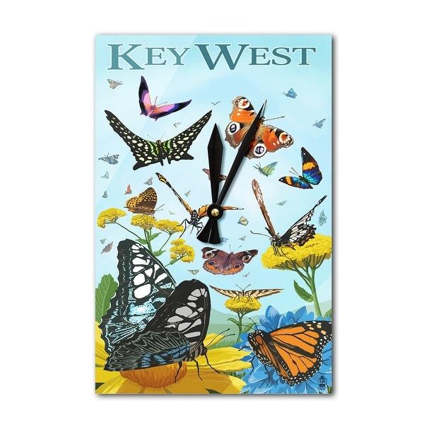Key West, FL - Butterfly Garden - LP Artwork (Acrylic Wall Clock) - acrylic wall clock