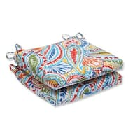"""Set of 2 Paisley Burst Outdoor Patio Chair Seat Cushions with Ties 18.5"""" - White"""