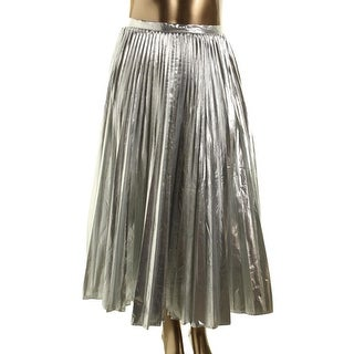 DKNY Womens Metallic Pleated Flare Skirt - 8