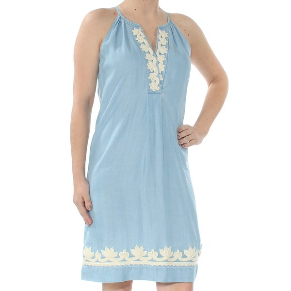 f3c0898caa4 Shop TOMMY BAHAMA Womens Blue Embroidered Halter Knee Length Shift Dress  Size  2XS - On Sale - Free Shipping On Orders Over  45 - Overstock -  27762882