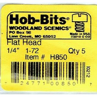 Woodland Scenics WOO850 0.25 in. 1-72 Flat Head Screws - 5 per Pack