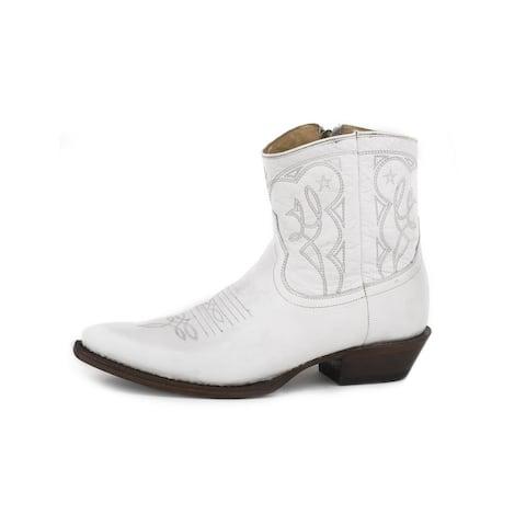 "Stetson Western Boots Womens Annika 5"" Zip White"