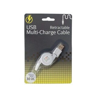 Kole Imports iPhone Retractable USB Multi-Charge Cable - Pack of 10