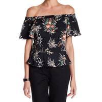 Nanette Lepore Black Womens Size XL Flutter Floral-Print Blouse