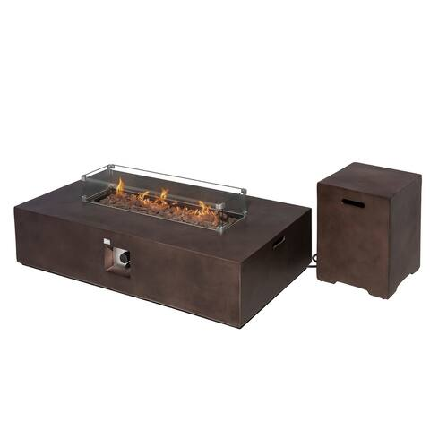 COSIEST 2-Piece Outdoor Propane Rectangle Fire Pit With Tank Table