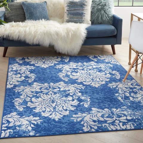 Nourison Whimsicle French Country Botanical Ivory Navy Area Rug