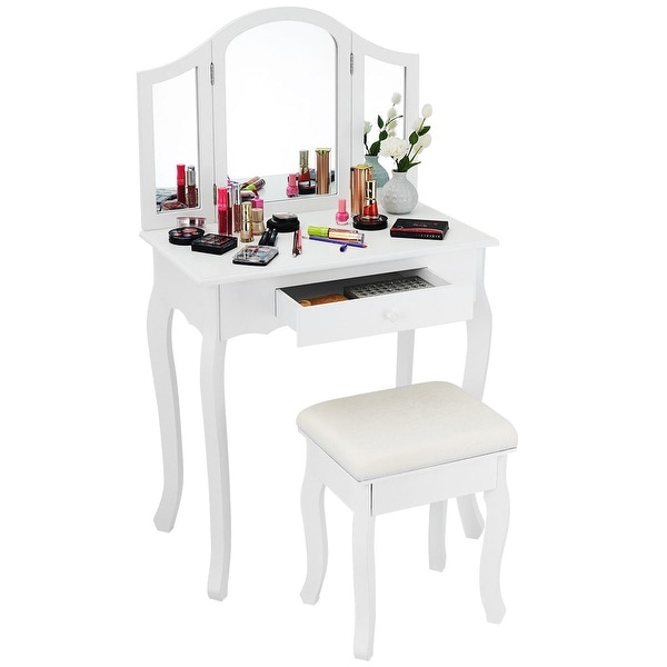 Miraculous Shop Costway White Tri Folding Mirror Vanity Makeup Table Andrewgaddart Wooden Chair Designs For Living Room Andrewgaddartcom