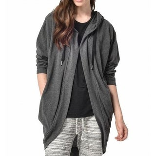 Bench. NEW Gray Women Size Small S Drawstring Snap-Front Hooded Sweater