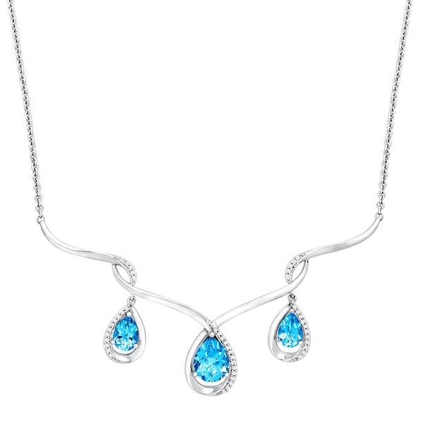 3 3/4 ct Natural Swiss Blue Topaz & 1/6 ct Diamond Necklace in Sterling Silver