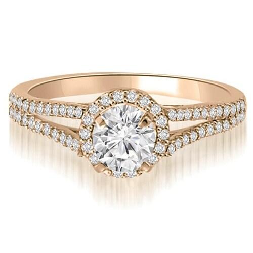 0.85 cttw. 14K Rose Gold Halo Split-Shank Round Cut Diamond Engagement Ring