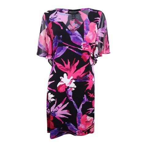 Connected Women's Floral-Print Ruffled-Sleeve Sheath Dress - Fuschia