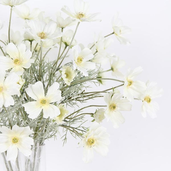 """FloralGoods Silk Cosmos Stem in White 24"""" Tall"""