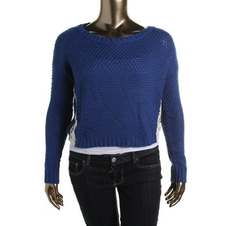 Freshman Womens Juniors Crop Lace Trim Pullover Sweater