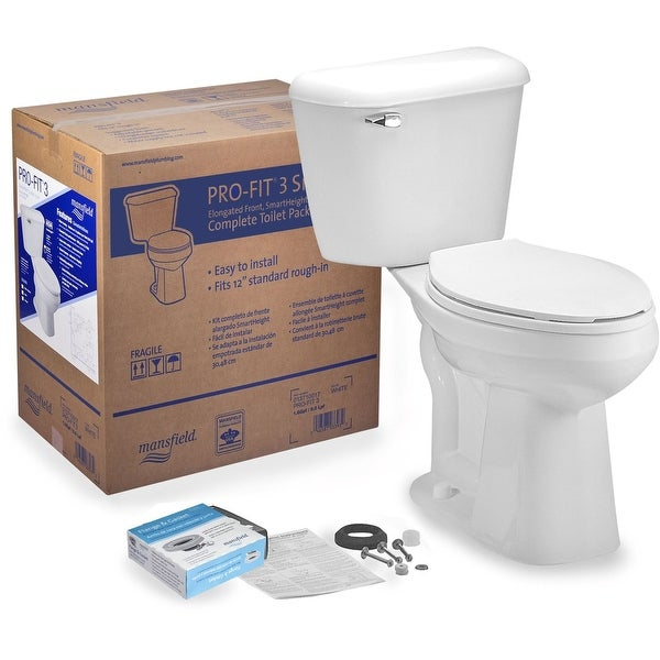 Mansfield 137LTCTK Pro-Fit 1.6 GPF Two-Piece Elongated Comfort Height Toilet Complete Kit - White
